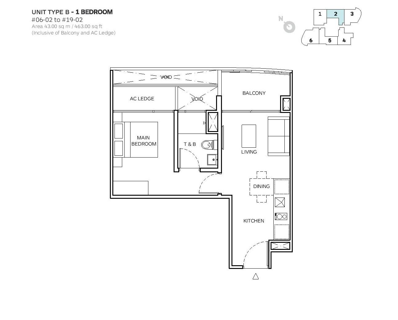 Robin Suites 1 Bedroom Type B Floor Plans
