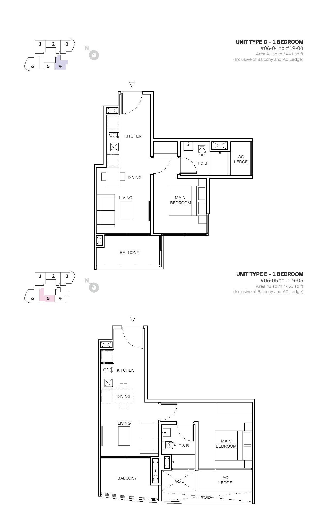 Robin Suites 1 Bedroom Type D Floor Plans