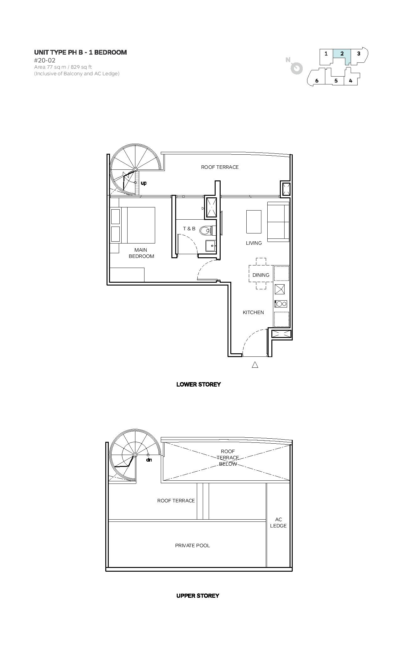 Robin Suites 1 Bedroom Type PH B Penthouse Floor Plans
