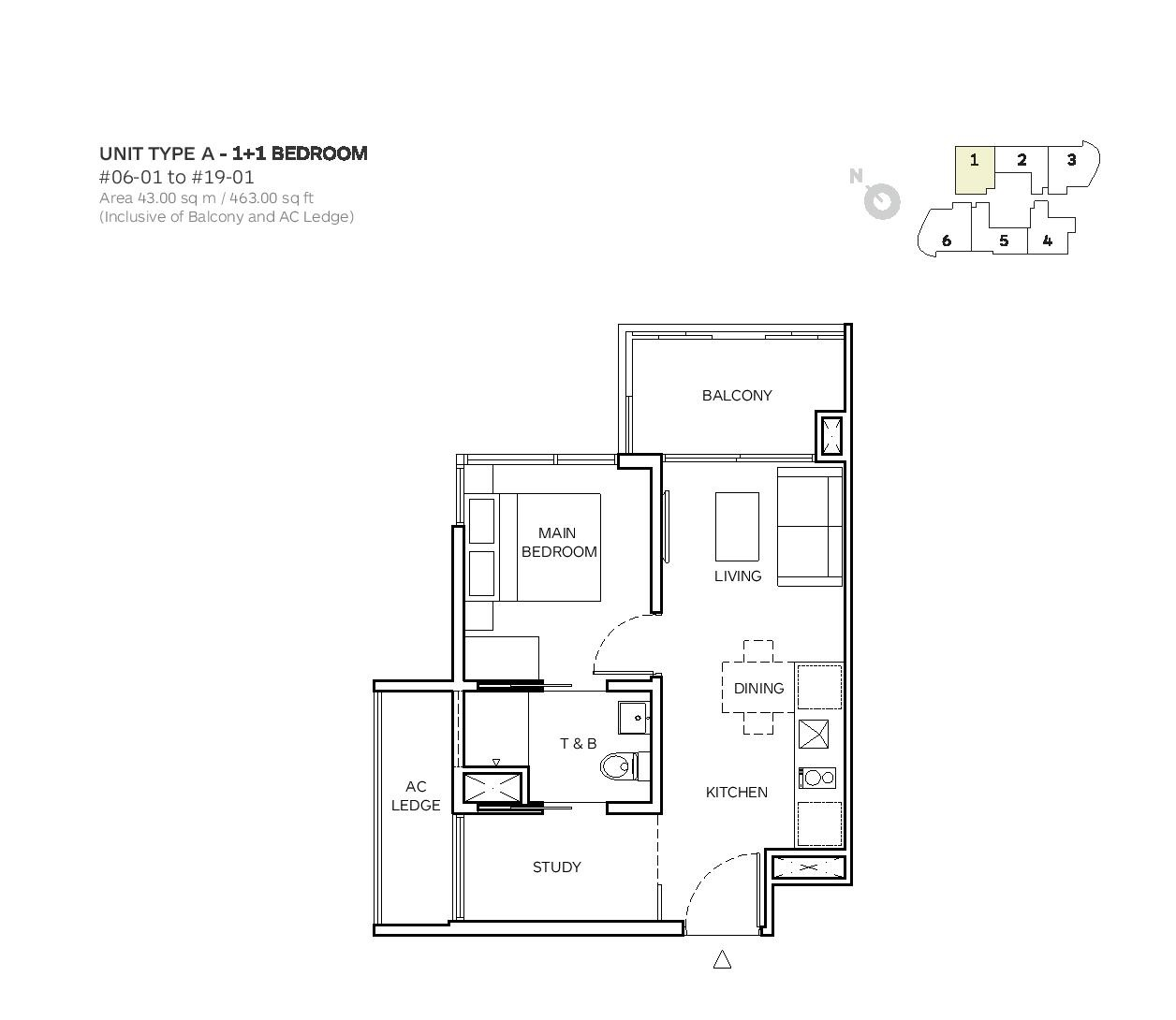 Robin Suites 1 Bedroom + Study Type A Floor Plans
