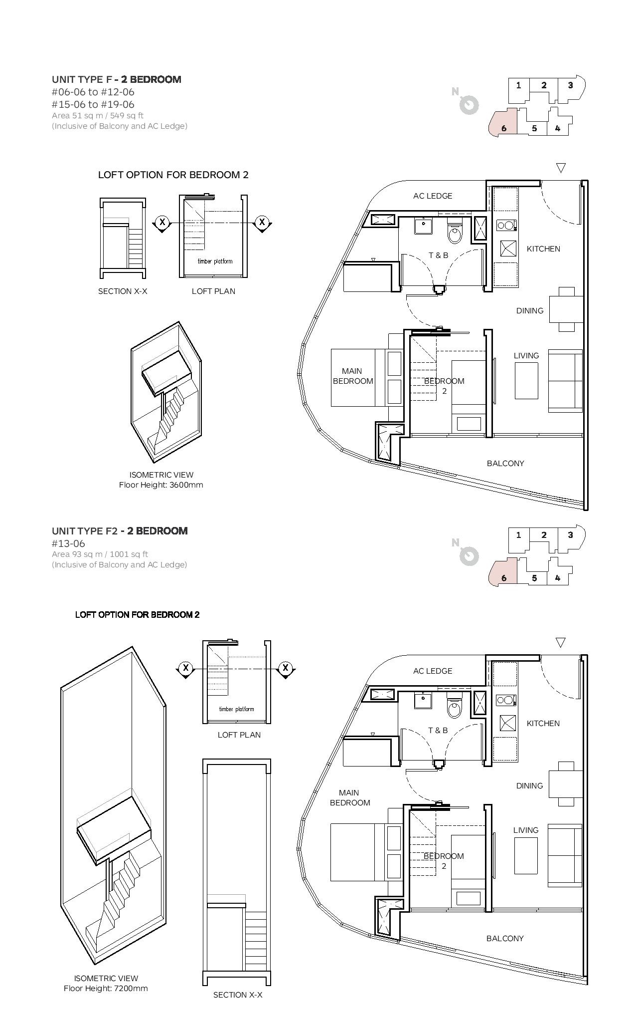 Robin Suites 2 Bedroom Type F/F2 Floor Plans