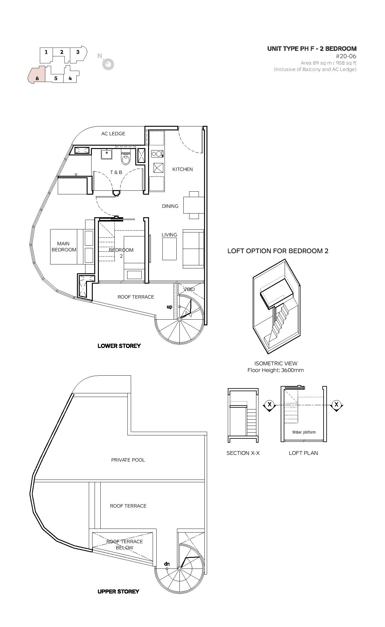 Robin Suites 2 Bedroom Penthouse Type PH F Floor Plans