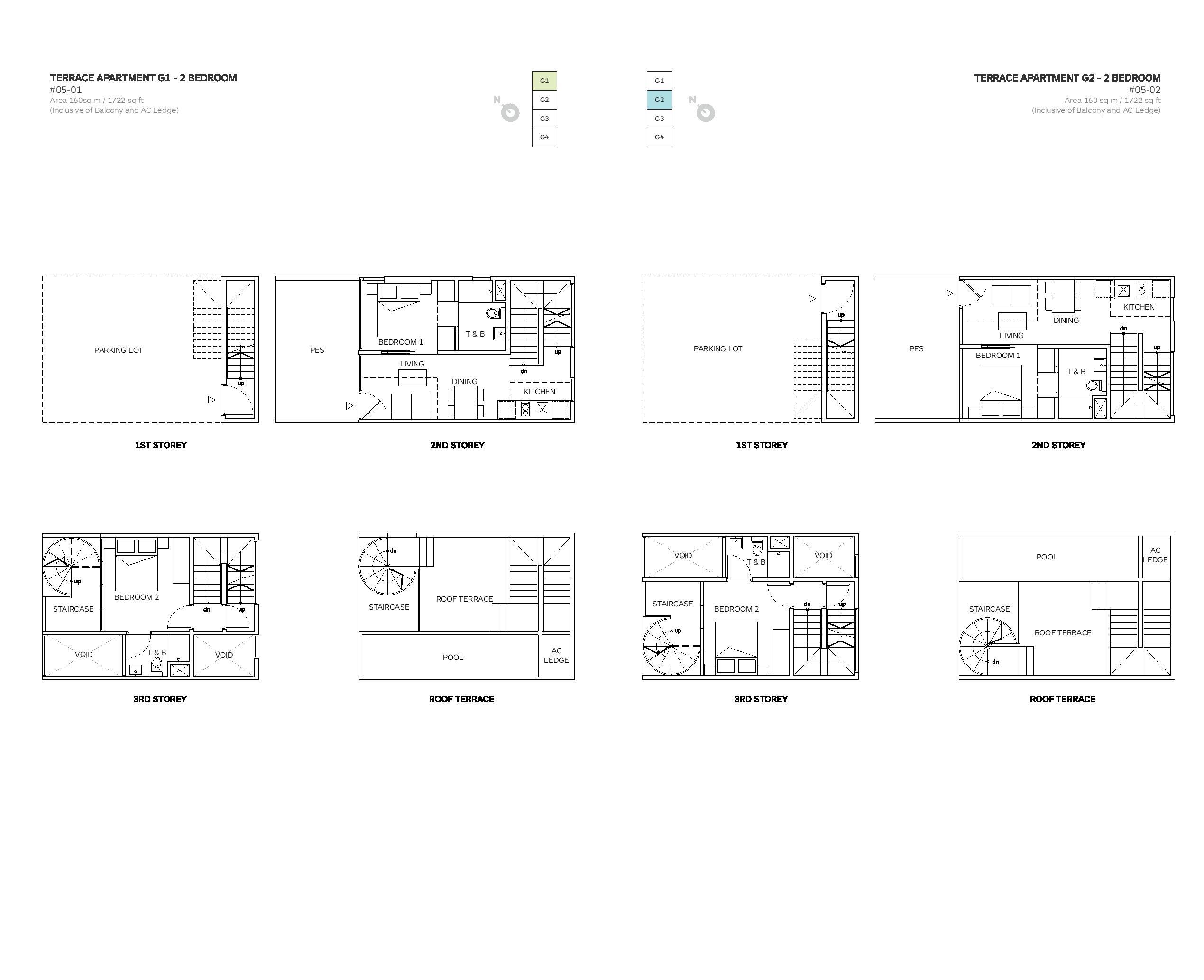 Robin Suites 2 Bedroom Townhouse 01/02 Floor Plans