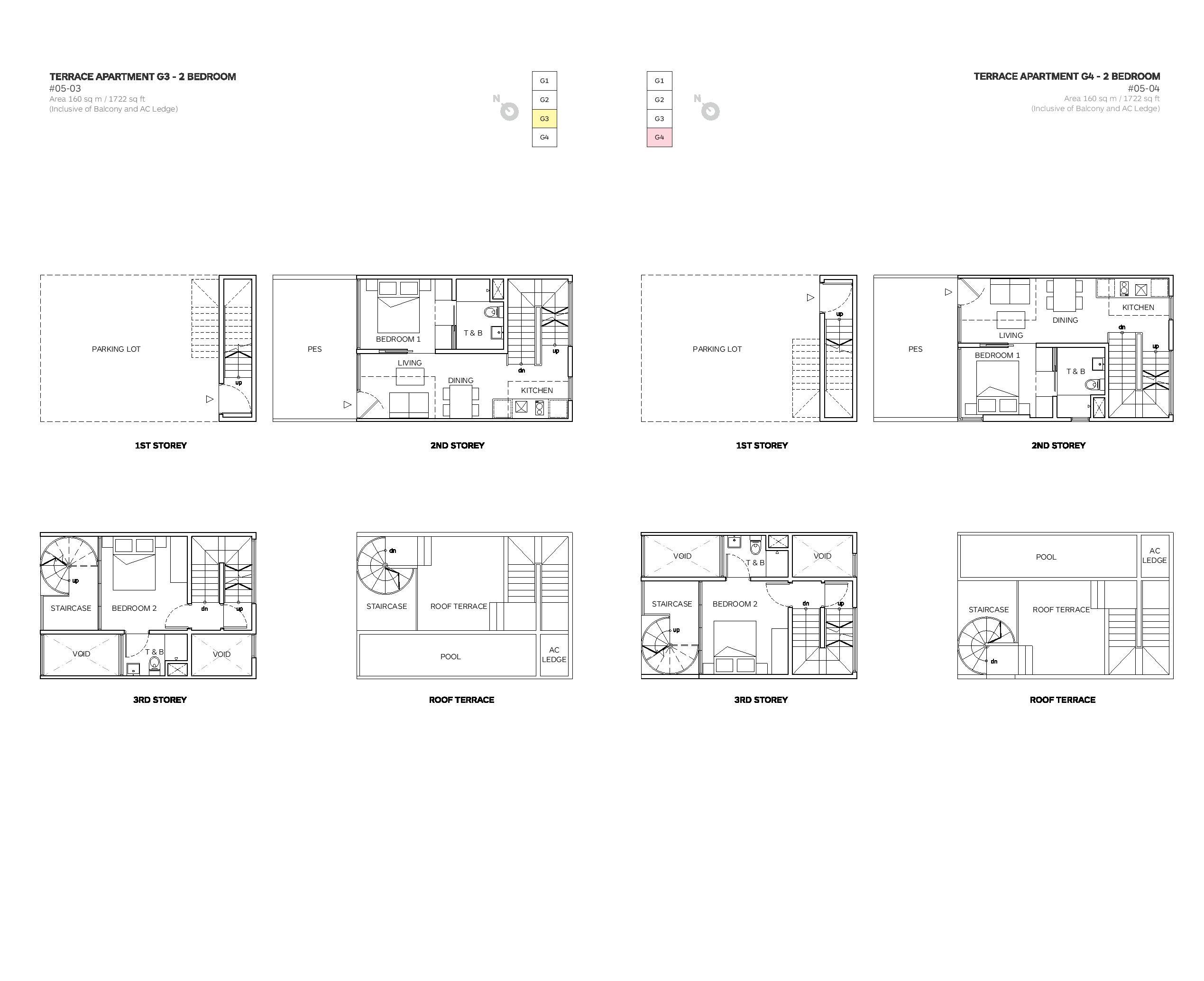 Robin Suites 2 Bedroom Townhouse 03/04 Floor Plans