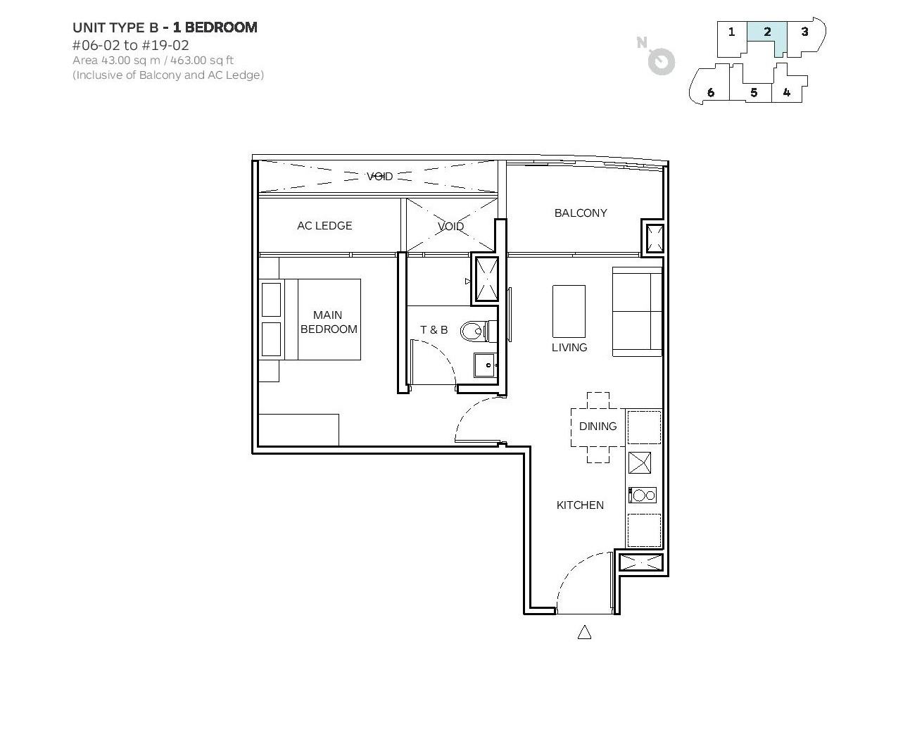 Robin Suites 1 Bedroom Type B Floor Plans