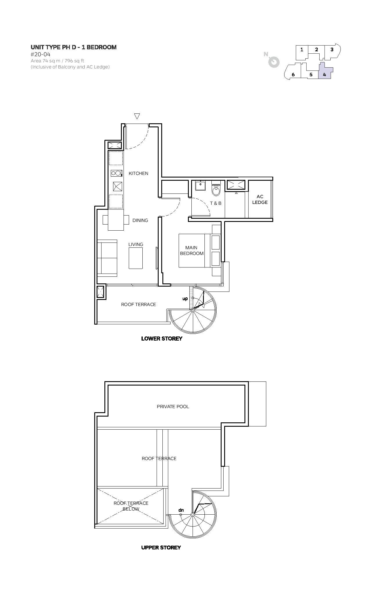Robin Suites 1 Bedroom Type PH D Penthouse Floor Plans