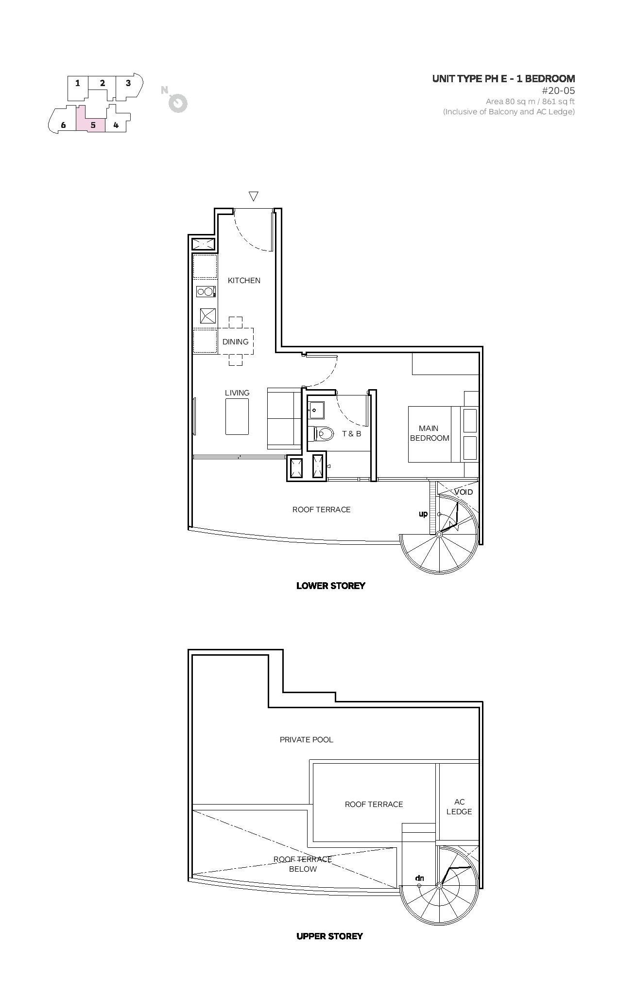 Robin Suites 1 Bedroom Type PH E Penthouse Floor Plans