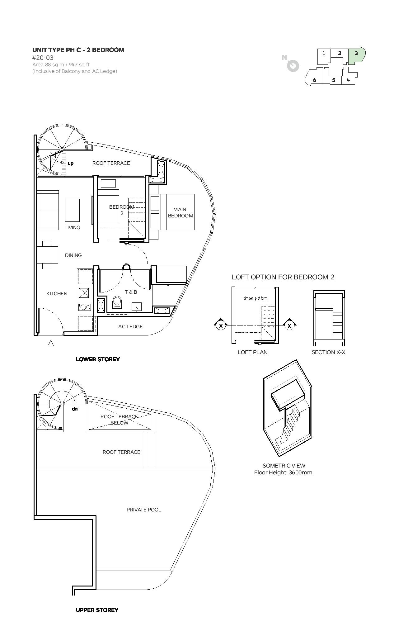 Robin Suites 2 Bedroom Penthouse Type PH C Floor Plans