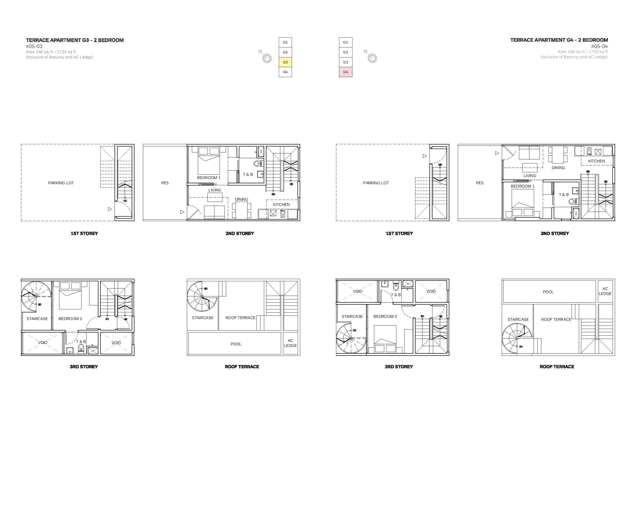 Robin Suites 2 Bedroom Townhouse 03/04 Floor Plans